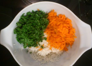 Mix Together Rice, Carrot & Kale